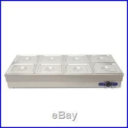 US NEW 8 Pan Hot Well Bain Marie Food Warmer 110V 2KW Steam DisplayTable190089
