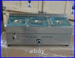 USStock 31/2-Pan Propane Gas Bain-Marie Buffet Food Warmer Kitcthen Steam Table