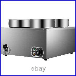 VEVOR 1500W Commercial Food Warmer with 4x4L Pots Countertop Steam Soup Kitchen