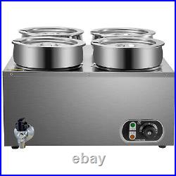 VEVOR 1500W Commercial Food Warmer with 4x7L Pots Countertop Steam Soup Kitchen
