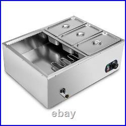 VEVOR 6-Pan Bain Marie 23 Food Warmer Table Steamer Wet Heat Countertop 1500W