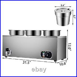 VEVOR 800W Commercial Food Warmer with 3x7L Pots Countertop Steam Soup Warmer