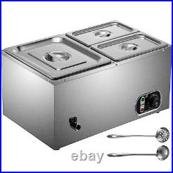 VEVOR Commercial Food Warmer Bain Marie Steam Table Countertop 3-Pan Station