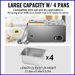 VEVOR Commercial Food Warmer Bain Marie Steam Table Countertop 4x1/4-Pan Station