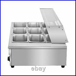 VEVOR Food Warmer Bain Marie Food Steamer 9-Pan 8L Steam Table Buffet Countertop